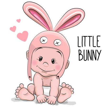 Ilustración de Cute Cartoon Baby boy in a Bunny hat on a white background - Imagen libre de derechos