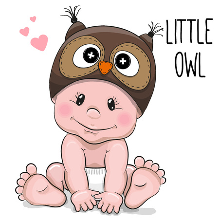 Illustration pour Cute Cartoon Baby boy in a Owl hat on a white background - image libre de droit