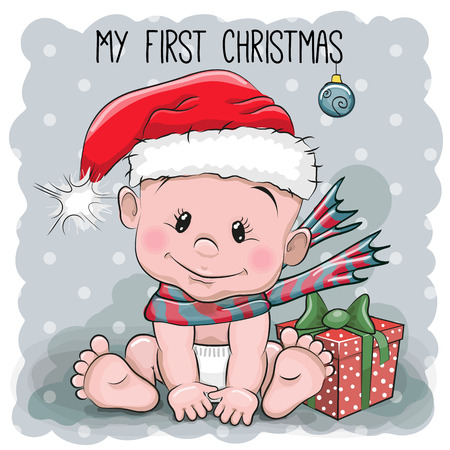 Illustration pour Cute Cartoon Baby in a Santa hat on a gray background - image libre de droit