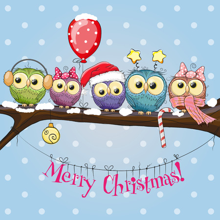 Illustration pour Greeting Christmas card Five Owls on a branch with balloon - image libre de droit