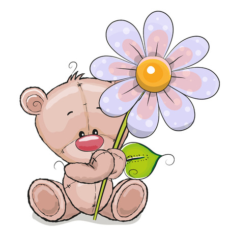 Illustration pour Greeting card Bear with flower on a white background - image libre de droit
