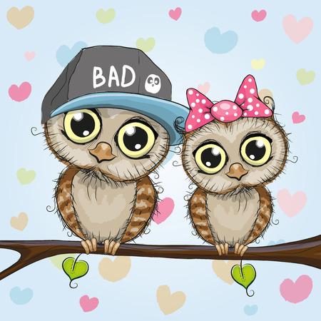 Ilustración de Greeting card with Two cute Cartoon Owls - Imagen libre de derechos