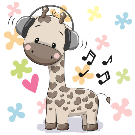 Illustration pour Cute cartoon Giraffe with headphones on a floral background - image libre de droit