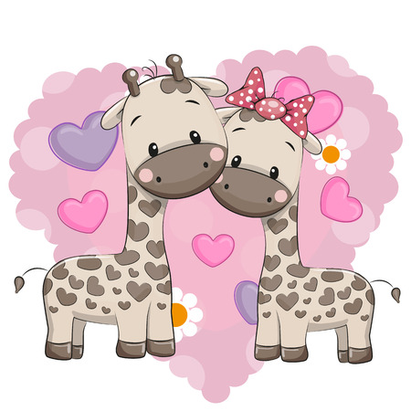Illustration pour Two cute giraffes on a background of heart - image libre de droit