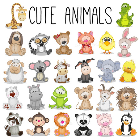 Illustration pour Set of Cute Animals on a white background - image libre de droit