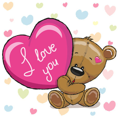 Ilustración de Cute Teddy Bear with heart on a hearts background - Imagen libre de derechos