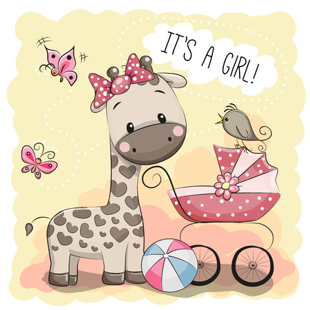 Illustration pour Greeting card it's a girl with baby carriage and Giraffe - image libre de droit