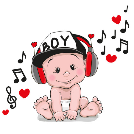 Illustrazione per Cute cartoon Baby with headphones and a cap - Immagini Royalty Free