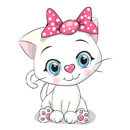 Ilustración de Cute Cartoon white kitten on a white background - Imagen libre de derechos