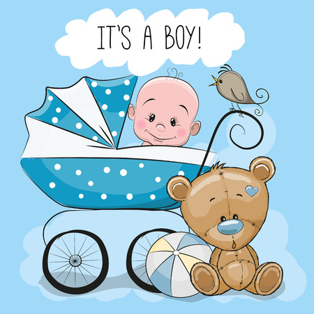 Illustration pour Greeting card its a boy with baby carriage and Teddy Bear - image libre de droit