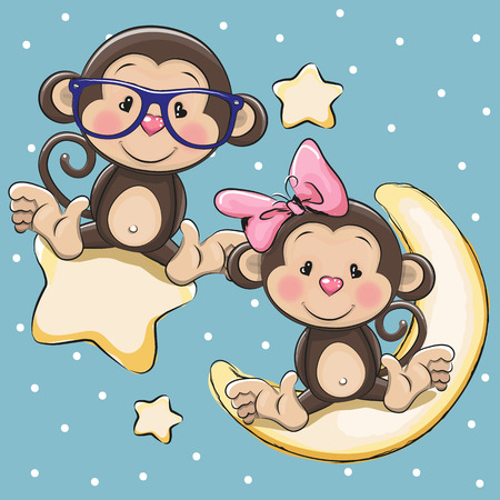 Illustration pour Valentine card with Lovers Monkeys on a moon and star - image libre de droit