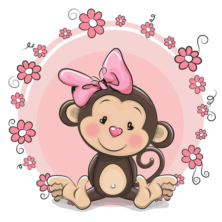 Illustration pour Greeting card cute Cartoon Monkey girl with flowers - image libre de droit