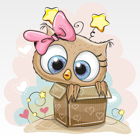 Illustration pour Birthday card with a Cute Cartoon Owl girl and a box - image libre de droit
