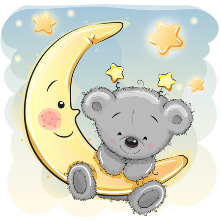 Ilustración de Cute Cartoon Teddy Bear on the moon - Imagen libre de derechos