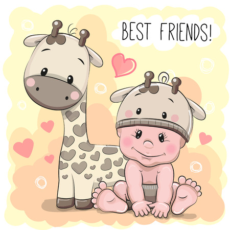Illustration pour Cute Cartoon Baby in a giraffe hat and giraffe - image libre de droit