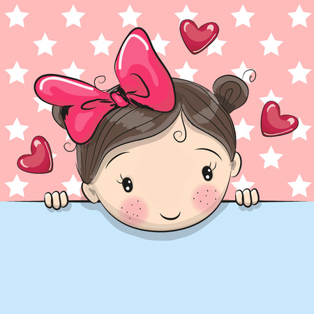 Photo pour Greeting card cute Cartoon Girl is holding a placard on a stars background - image libre de droit