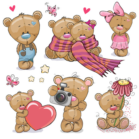 Illustration pour Set of Cute Cartoon Teddy Bear on a white background - image libre de droit