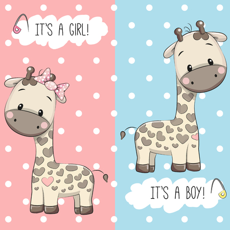 Illustration pour Baby Shower greeting card with Giraffes boy and girl - image libre de droit