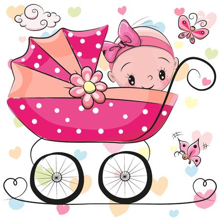 Ilustración de Cute Cartoon Baby girl is sitting on a carriage on a hearts background - Imagen libre de derechos