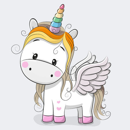 Ilustración de Cute Cartoon Unicorn isolated on a gray background - Imagen libre de derechos