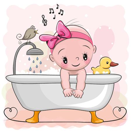 Ilustración de Cute cartoon baby Girl in the bathroom - Imagen libre de derechos