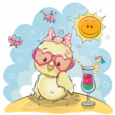 Illustration pour Greeting card Cute Chick in sun glasses on the beach - image libre de droit