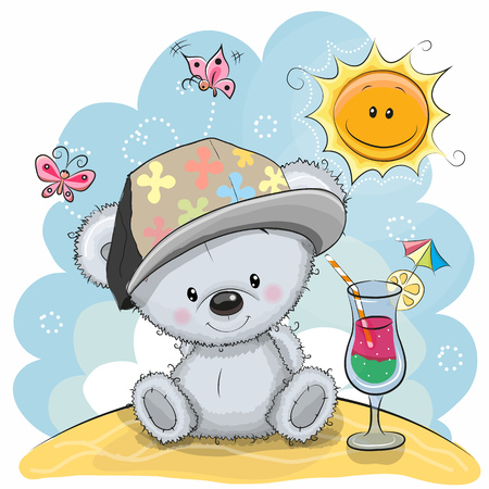 Illustration pour Greeting card Teddy Bear in a cap on the beach - image libre de droit