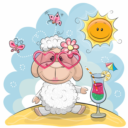 Illustration pour Greeting card Cute Sheep in sun glasses on the beach - image libre de droit