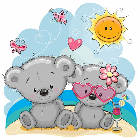 Illustration pour Greeting card Two Bears in a cap on the beach - image libre de droit