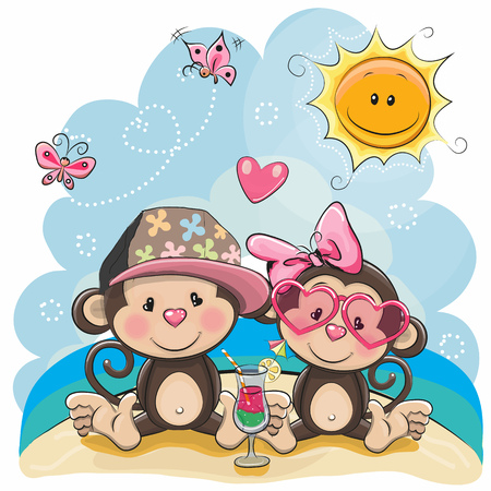 Illustration pour Greeting card Two Monkeys in sitting on the beach - image libre de droit