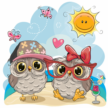Illustration pour Greeting card Two Owls in sitting on the beach - image libre de droit