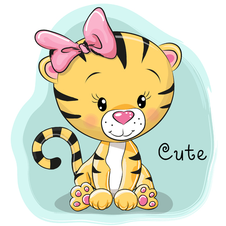 Photo pour Cute Cartoon Tiger on a blue background - image libre de droit