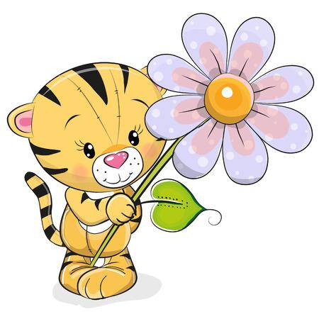 Ilustración de Greeting card Tiger with flower on a white background - Imagen libre de derechos