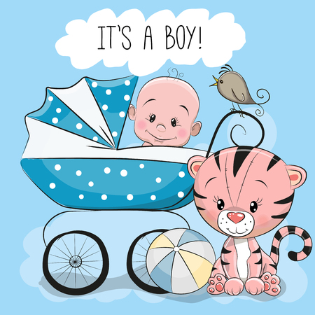 Illustration pour Greeting card its a boy with baby carriage and a little Tiger - image libre de droit