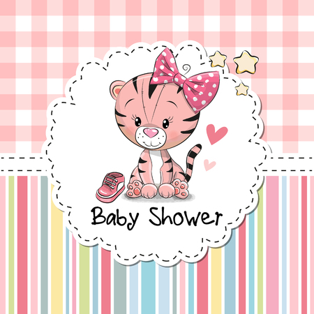 Illustration pour Baby Shower Greeting Card with cute Cartoon Tiger girl - image libre de droit