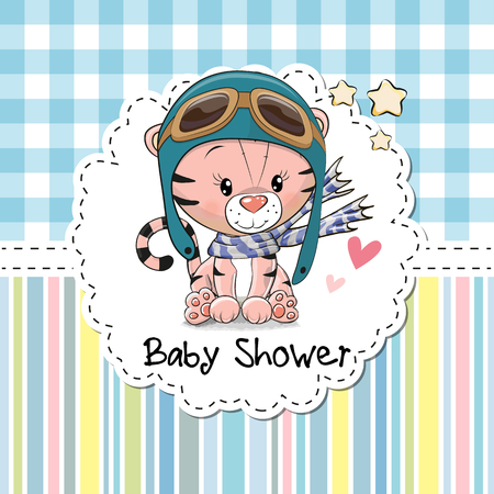 Illustration pour Baby Shower Greeting Card with cute Cartoon Tiger - image libre de droit