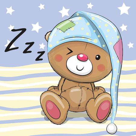 Ilustración de Sleeping cute Teddy Bear in a hood - Imagen libre de derechos
