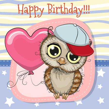 Illustration pour Greeting card Cute Cartoon Owl with balloon - image libre de droit