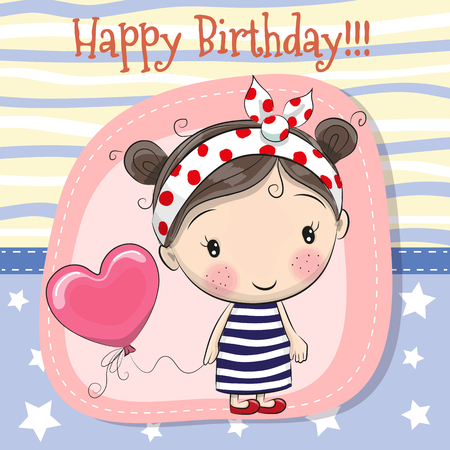Illustration pour Greeting card Cute Cartoon girl with balloon - image libre de droit
