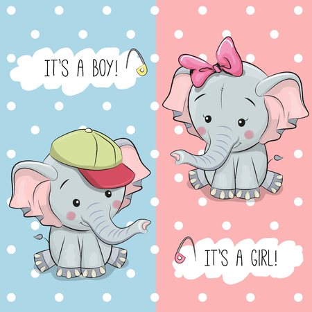 Illustration pour Baby Shower greeting card with Elephants boy and girl - image libre de droit