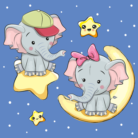 Illustration pour Valentine card with Lovers Elephants on a moon and star - image libre de droit