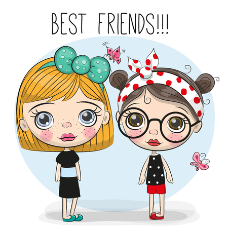 Illustration pour Two friends Cute cartoon girls with big eyes - image libre de droit