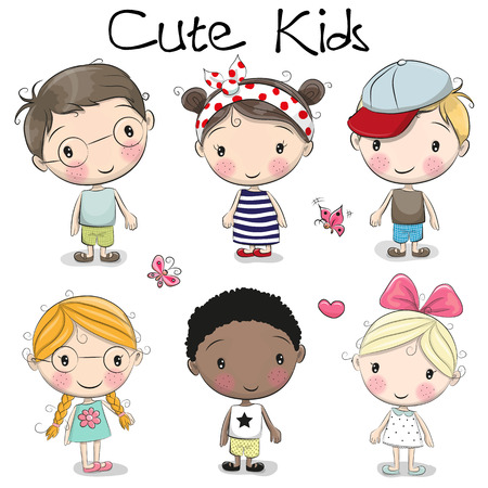 Ilustración de Set of Cute cartoon girls and boys on a white background - Imagen libre de derechos