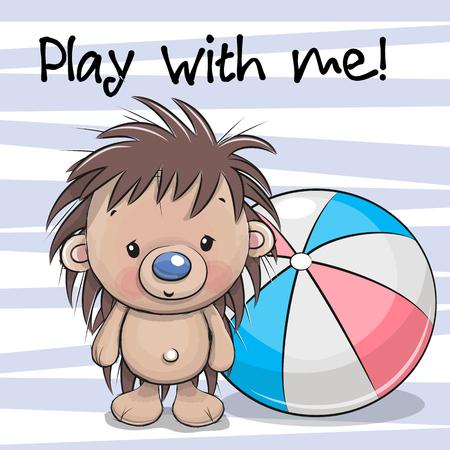 Ilustración de Cute Hedgehog with a ball - Imagen libre de derechos