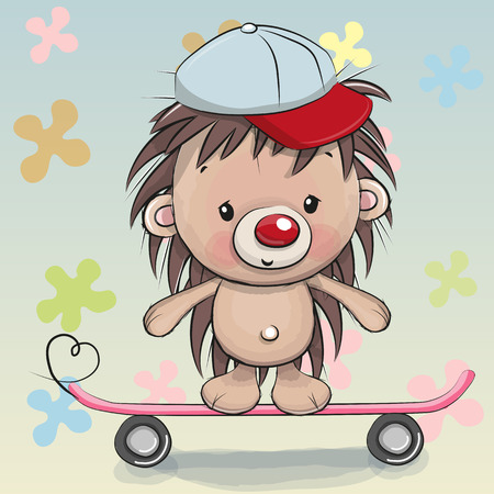Illustration pour Cute Hedgehog with skateboard on a floral background - image libre de droit