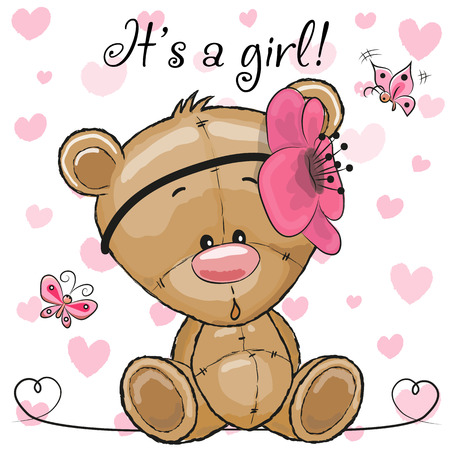 Illustration pour Baby Shower Greeting Card with cute Cartoon Teddy Bear girl - image libre de droit