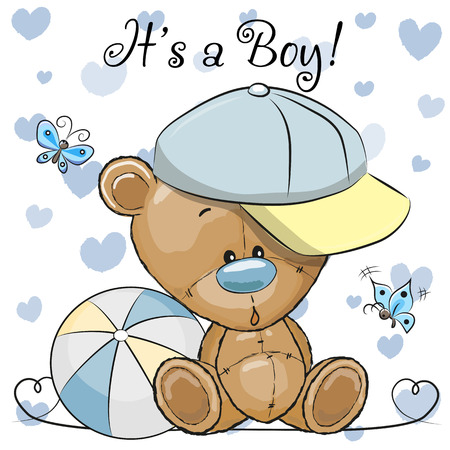 Illustration pour Baby Shower Greeting Card with cute Cartoon Teddy Bear boy - image libre de droit