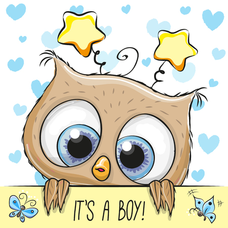 Ilustración de Baby Shower Greeting Card with cute Cartoon Owl boy - Imagen libre de derechos