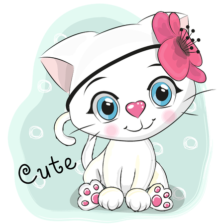 Illustration pour Cute Cartoon White Kitten with a flower on a blue background - image libre de droit