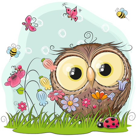 Illustration pour Cute Cartoon Owl on a meadow with flowers and butterflies - image libre de droit
